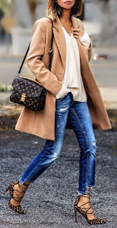 #spring #outfits  Camel Coat & Ripped Skinny Jeans & Leopard Laced Up Pumps