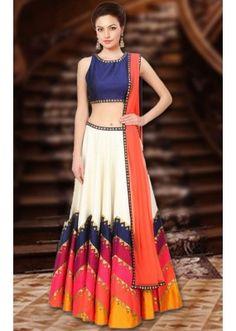 Navratri Special Multicolour Raw Silk Lehenga Choli - WA0234