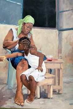 Kehinde Oso is a Nigerian painter, born April 1973 in Lagos, Nigeria. In 2004 he earned his degree in Painting from Yaba College of Technology, Lagos, and his work depicts intimate moments of Lagosian urban life. Black Love Art, Black Girl Art, Art Girl, African American Artwork, Haitian Art, Black Art Pictures, Natural Hair Art, Caribbean Art, Art Africain