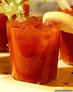Bloody Mary - Martha Stewart Living Television, July 2001   This recipe for spicy, refreshing Bloody Marys is a perfect accompaniment to eggs benedict or other brunch favorites.   From: marthastewart.com