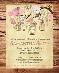Vintage Birdcage Invitation, Pink Bridal Shower Invitation, Wedding Shower,  Birds, Birdcages, Brown, Pink, Purple. $18.00, via Etsy.