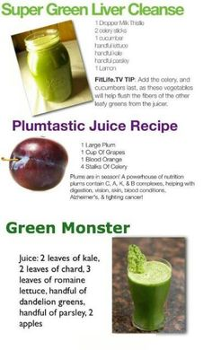 Juicing Recipes - Super Green Liver Cleanse, Plumtastic Juice Recipe, Green Monster