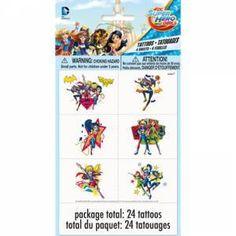 DC Superhero Girls Tattoos - 24 Pk