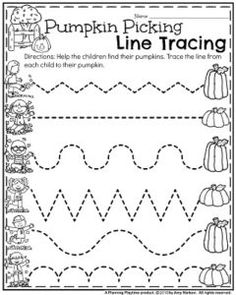 Preschool Worksheets Preschool Worksheets for October - Pumpkin Picking Line Tracing.Preschool Worksheets for October - Pumpkin Picking Line Tracing. Preschool Lesson Plans, Preschool At Home, Preschool Curriculum, Preschool Classroom, Preschool Learning, Preschool Printables, October Preschool Crafts, Halloween Preschool Activities, Preschool Writing