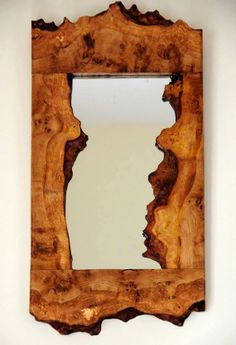 burr oak mirror by stagwoodcrafts on Etsy, Natural Wood Furniture, Live Edge Furniture, Log Furniture, Wood Framed Mirror, Rustic Mirrors, Diy Mirror, Pallet Picture Frames, Picture On Wood, Driftwood Lamp