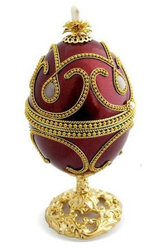 """Gold Plated Goose Egg with Regal Wine Red Color 