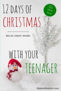 Do you get to have Christmas with teenagers in your home? Enjoy ideas of 12 real, tried-and-true ways to spend time with your teens. Make this Christmas a time to remember!