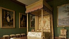 Queen Charlotte's embroidered state bed, displayed in the Prince of Wales's Bedchamber at Hampton Court Palace Castle Rooms, Royal Collection Trust, Bed Photos, Cool Beds, Awesome Beds, Hampton Court, Country Estate, Historic Homes, Surrey