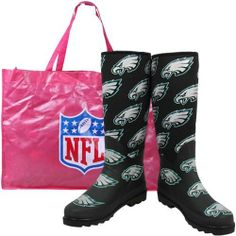 """Cuce Shoes Philadelphia Eagles Women's Enthusiast Rain Boot by Cuce Twins LLC. $94.95. Textured rubber outsole. Padded footbed Pull-on design Heel Height: 1"""". Waterproof stretch neoprene. Shaft Height: 16"""". Rain bootAll-over NFL? team logo prints. The Cuce Shoes women's Enthusiast rain boots are waterproof so you'll be ready to look great and cheer for your favorite NFL? team in any weather. A pull-on design and padded footbed make them comfortable, while all-ove..."""