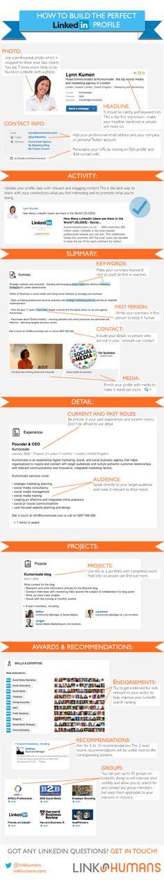 How to build the perfect Linkedin profile #infografia #infographic #socialmedia