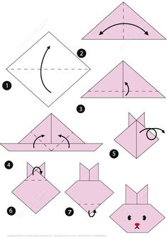 How To Make an Origami Rabbit Face Step by Step Instructions Free Printable .- How to Make an Orig Origami Ball, 3d Origami Herz, Origami Paper Folding, Paper Crafts Origami, Paper Crafting, Origami Boxes, Dollar Origami, Origami Ideas, Origami Simple