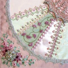 I ❤ crazy quilting, beading & ribbon embroidery . . . Gorgeous June 2012 CQJP Block ~By Susie W  Dresden Plate