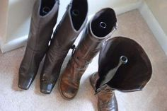 Use wine bottles or pool noodles to keep your boots upright.