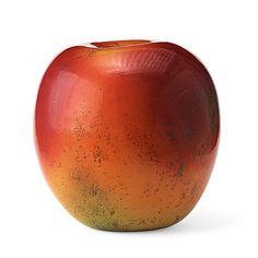 """HANS HEDBERG: Skulptur """"äpple"""", Biot, Frankrike. Starkeldsfajans, glasyr i rött, orange och grönt, signerat HHg. Höjd 46 cm, diameter 40 cm."""