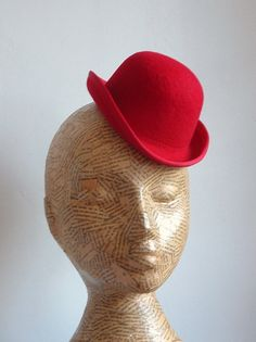 Felt mini bowler hat in red. Ready for you to trim with flowers, feathers,etc.