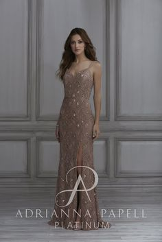 daadc15b77a Adrianna Papell Platinum Bridesmaids 40129 This lace gown features small  clusters of beads and sequins above and below its beaded waistline. The  skirt has a ...