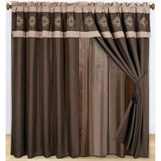 New Brown Embroidery Curtain Valance Panels Liner Tie back Tassel Curtain Sets, Window Coverings, Window Curtains, Windows, Luxury, Brown, Tassels, Tie, Embroidery