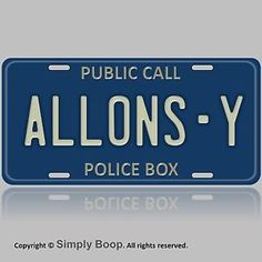 doctor who allons y tardis auto vanity aluminum license plate tag brand new - Doctor Who License Plate Frame