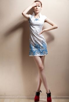 Short Stand-up Collar Cheongsam / Qipao / Chinese Dress