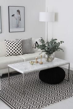 Minimal, Black and White living room Black And White Living Room, White Rooms, My Living Room, Home And Living, Multipurpose Furniture, Scandinavian Living, Decoration, Sweet Home, Ikea