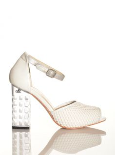 Young British Designers: Eudon Choi x Joanne Stoker White Mesh Sandal by Joanne Stoker - Straight from Eudon's ephemeral catwalk to Young British Designers come these delightfully unique summer sandals. Perfectly lovely with all summer attire and perfect heel height to make them immensely wearable.