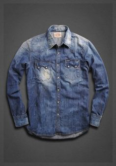 Denim shirt with work inspired double pockets   Shirt   Man   FW12   Replay…