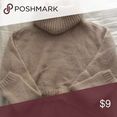 Cropped cowl neck knit sweater Cream colored size 4 sweater Divided Sweaters Cowl & Turtlenecks