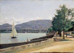 Le Lac de Genève (The Lake of Geneva), 1842?, Oil on canvas, 34 x 46 cm (13 3/8 x 18 1/8 in.), Signed lower left: Corot. Written in pencil on the stretcher: Vue du [obscured] Genève 1841. Le Musée d'Art et d'Histoire, Geneva.