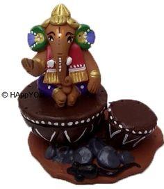 Eco-Friendly Handpainted Terracotta Ganesha on tabla
