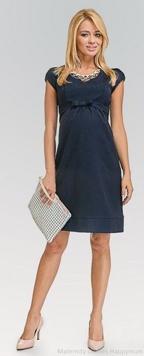 Bellissima navy Heart-shaped neckline Maternity dress