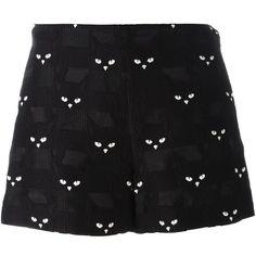 Giamba cat shorts (25.705 RUB) ❤ liked on Polyvore featuring shorts, black, bottoms, skirts, giamba and cat shorts