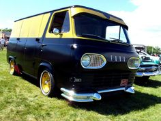 1963 Ford Econoline van Cool Flat Black With The 60s/70s Bass Boat Glitter Yellow/Gold!!