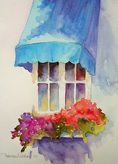 Watercolors By Marilyn Lebhar; purple cascading petunias, red geraniums; and, Spring-green potato Vine!