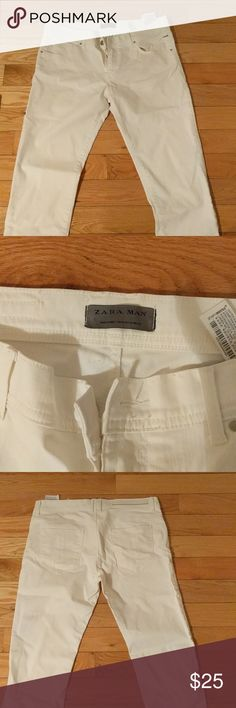 Men's Zara White Pants White Lacquer Denim Pants Zara Jeans Slim
