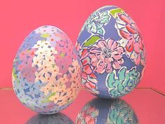 Lily Pulitzer Hand Painted Eggs. Want to make something special for your Easter basket? Try to apply the bright floral prints for your lovely Easter Eggs.