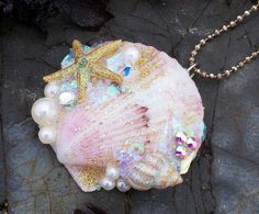 Mermaids Treasure Shell Necklace - Would be cute to do - get some shells, glitter glue, small beads and rhinestones