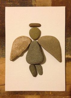Pebble Art/ Canvas Art/ Multi Media Collage/ Beach Stones/ Guardian Angel / Home decor Stone Crafts, Rock Crafts, Arts And Crafts, Caillou Roche, Art Rupestre, Art Pierre, Rock Sculpture, Ribbon Sculpture, Sculpture Ideas