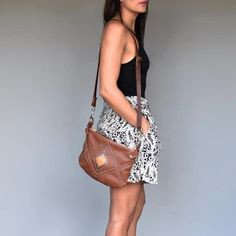 Handmade tan leather cross body bag with hand cut Aztec design on the front of bag. Leather Crossbody Bag, Leather Handbags, Aztec Designs, Tan Leather, Cross Body, Fashion Accessories, Shoulder Bag, Handmade, Inspiration