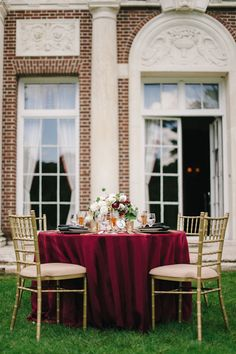 Hello- So we just switched our wedding date from April to June, and my colors are marsala (wine), gold and blush. Simple Wedding Centerpieces, Wedding Reception Tables, Wedding Table Settings, Wedding Decorations, Marsala And Gold Wedding, Burgundy Wedding, Our Wedding Day, Fall Wedding, Wedding Ideas