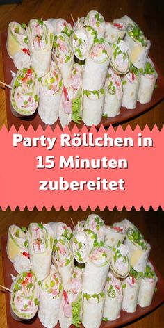 Party Röllchen in 15 Minuten zubereitet Don't you know what you should offer your guests for dinner? Don't you have a lot of time but want something exclusive? Make these party rolls. They are ready in just 15 minutes and so delicious! Pizza Snacks, Snacks Für Party, Appetizers For Party, Good Food, Yummy Food, Party Finger Foods, Party Buffet, Le Diner, Breakfast Bars