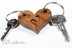 puzzle heart key ring