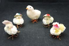 5 Vintage Spun Cotton Easter Chicks