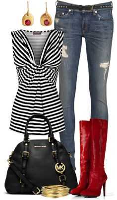 """""""Pinstripes"""" by angela-windsor on Polyvore.  My jeans would not have holes in them, and would probably be a darker wash.  But I like this."""