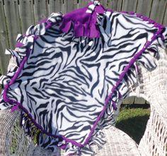Handmade Zebra Animal Print Fleece Baby Girl Blanket with Purple Backing on Etsy, $15.00