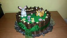 tarta tres chocolates con bambi y tambor