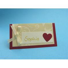 Tischkarten Hochzeit basteln | schöne bunte Bastelpapiere in weinrot und creme in unserem Bastelshop