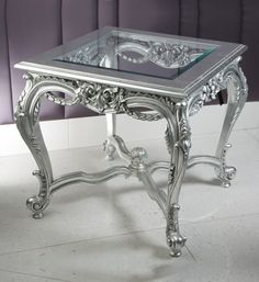 Rococo acanthus leaf side lamp table