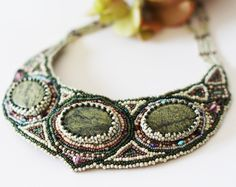 Bead embroidery collar necklace with Serpentine and Swarovski crystals. Green white pink. OOAK by LIAKURZ on Etsy https://www.etsy.com/listing/120061276/bead-embroidery-collar-necklace-with
