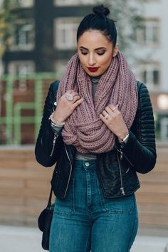 Casual Autumn Nights // top knot // infinity scarf & leather jacket // high rise jeans