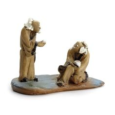 Two Mud Man Scholars. This is a miniature figurine perfect for a Zen garden, an Asian themed fairy garden, or for an indoor or outdoor display from Georgetown Home & Garden. Miniature Zen Garden, Fairy Garden Accessories, Miniature Figurines, Fairy Houses, Shade Garden, Bonsai, Mud, Indoor Outdoor, Garden Sculpture